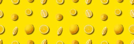 Lemon on yellow with shadows seamless pattern