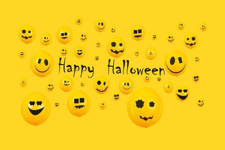Inscription happy halloween over yellow 免版税图像 - 152977460