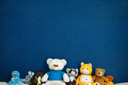 Soft toys on   blue