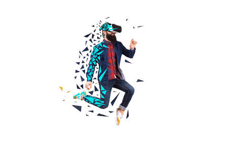 Hipster man in VR glasses on white