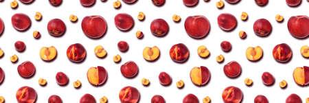 Nectarine fruits seamless pattern  on white 免版税图像 - 152977474