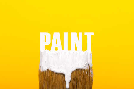 Paintbrush with white paint over yellow 写真素材