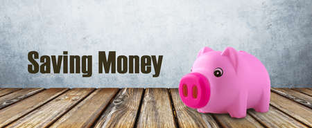 Saving money inscription near pink piggy bank 免版税图像 - 152977570