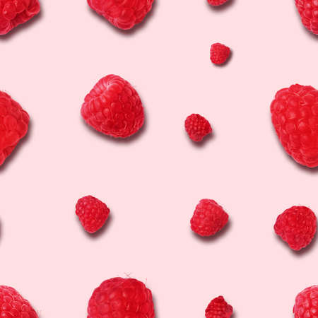 seamless raspberry pattern on pink background. Flat lay. Top view. Food background with summer berries. Creative minimalism