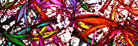 colored splashes in abstract shape over white background, panoramic image 免版税图像 - 153679363