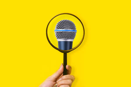 magnifier pointing at microphone, singer search concept 免版税图像