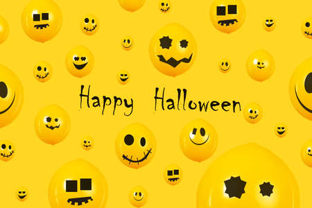 Happy Halloween banner, party balloons with funny faces