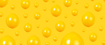 background of yellow balloons, minimalism concept, panoramic image