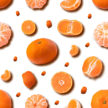 Fruit seamless pattern of mandarin on yellow background. Tangerine. top view.