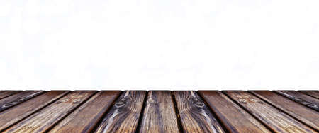 empty wooden table top view over sparkle light background