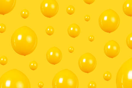 background of yellow balloons, minimalism concept, party balloons