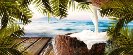 empty wooden table on background of sea and coconut, panoramic image