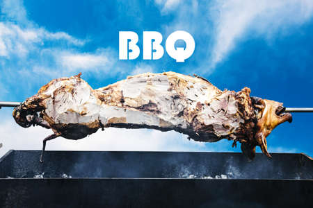 pig on the spit cooked on the grill, BBQ concept 免版税图像