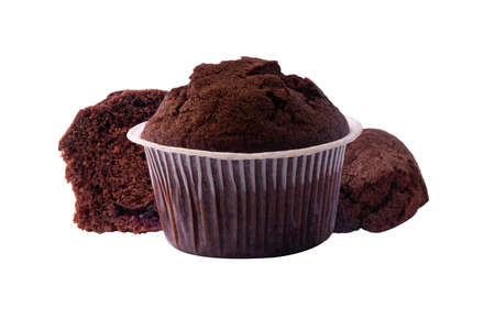 chocolate muffins isolated on white background