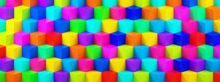 background from multicolor 3d cubes, geometric background, 3d rendering, panoramic image Foto de archivo
