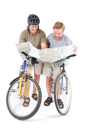 lost confused bikers with map