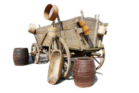 wheel barrel: old farm tools and wheel cart