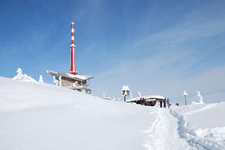 outpost: transmitter outlook tower lysa hora in beskydy mountains winter Editorial
