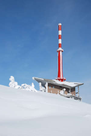 outlook: transmitter outlook tower lysa hora in beskydy mountains winter Editorial