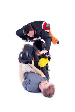 somersault: scooter accident crash down man