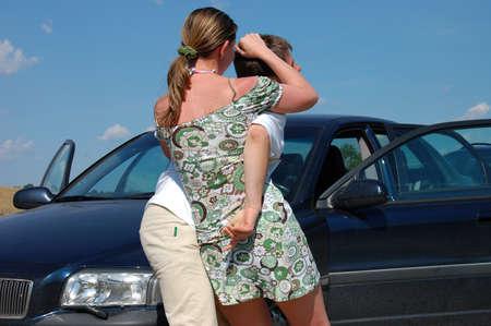 self defense: woman self defence against terrorist Stock Photo