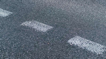 white Road markings close up