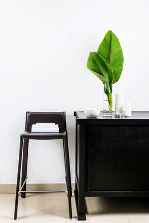 Interior design of room, mock-up, vase and green plant of banana tree, candles, white books on leather chair and white wall. Minimalism style. Imagens