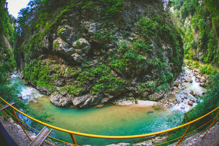 Panoramic view of mountain canyon river in Krasnodar region.
