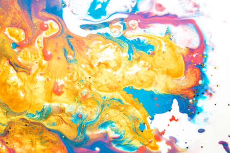 Colorful acrylic abstract painting on isolated white background.