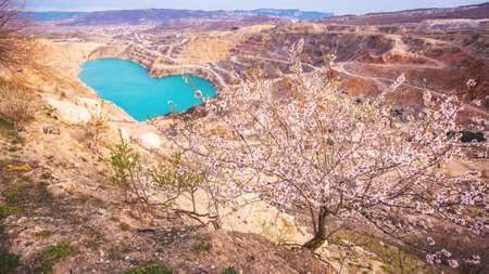 Beautiful landscape of bright blue opencast or lake located near Balaklava town, Crimea. Reklamní fotografie