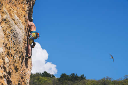 Athletic man climbs an overhanging rock with rope, lead climbing. Sport climbing outdoor.