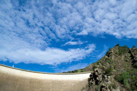 ble: View of Berryessa dam on ble sky day in the spring