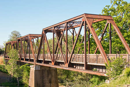winters: Panoramic view of Winters famous Historic Trestle Train Bridge Stock Photo