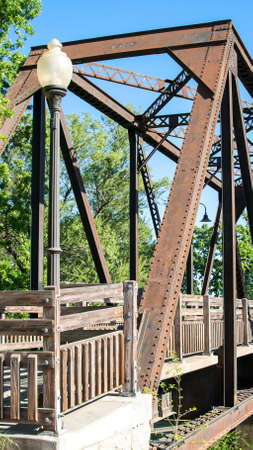 Panoramic view of Winters' Historic Trestle Train Bridge Banco de Imagens