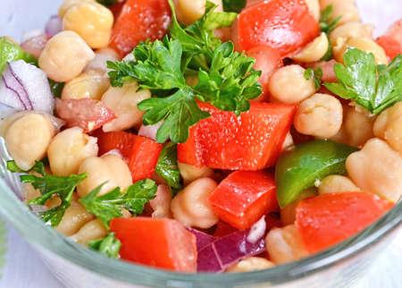 garbanzo bean: Closeup on garbanzo bean salad