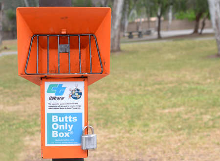 watts: Interstate 80 near Red Bluff, California, USA, 6 May 2016.  Caltrans Butts only box. Most rest stops along I-80 are now equipped with these boxes, which collect cigarette buts to be used to generate energy, as part of the Buts to Watts Energy program. Editorial