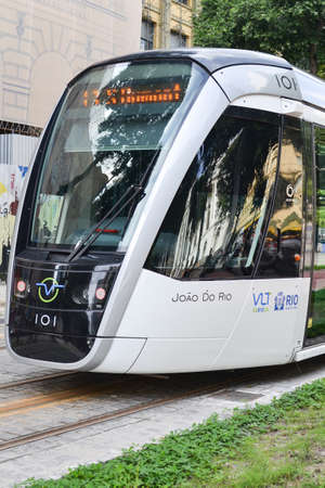 Cinelandia, Rio de Janeiro, Brazil. VLT, the new overground train system, is being tested and is carrying passengers, free of charge, from Santos Dumont airport to Praca Maua