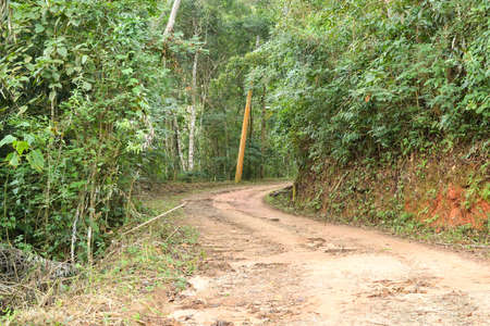 unclear: A dirt road in the countryside of Itaipava, Petropolis, Brazil Stock Photo