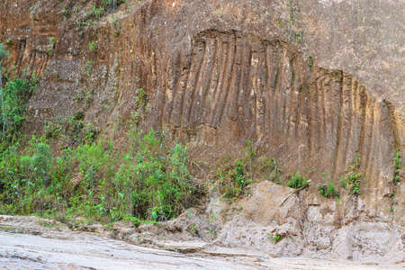 deforested: Erosion on the side of a dirt road in Petropolis, Brazil, as the result of deforestation