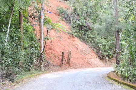 deforestacion: Erosión en el lado de una carretera asfaltada en Petrópolis, Brasil, como resultado de la deforestación
