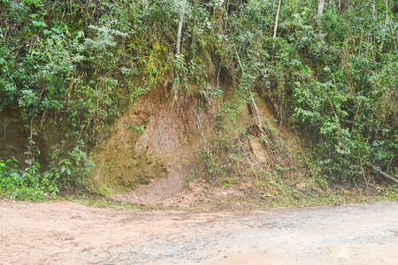 deforested: Erosion on the side of a dirt road in Petropolis, Brazil, as the result of deforestation and poor planning