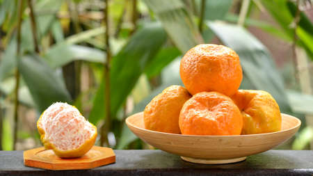 reticulata: Group of organic mandarin fruit variety Ponkan, whole and partly pealed,  in wooden basket