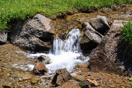 sierras: Small snow melt waterfall in the Mukelumne wilderness, Sierra Nevada, California, USA
