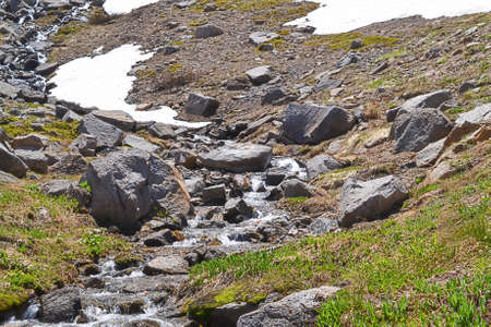 sierras: Snow melting in the Sierra Nevada in the summer Stock Photo