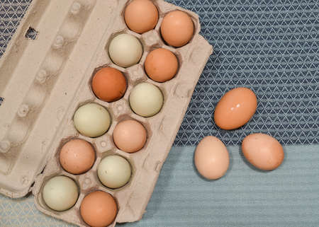 unwashed: A dozen unwashed chicken eggs in open carton, on blue table cloth, beside a group of three eggs