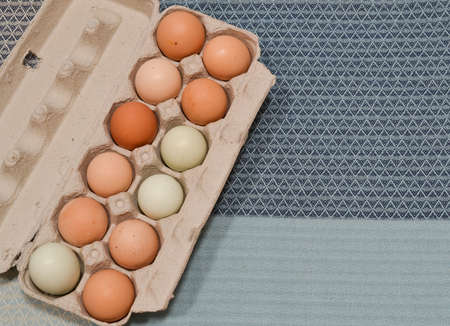 A dozen unwashed chicken eggs in open carton, on blue table cloth Stock Photo