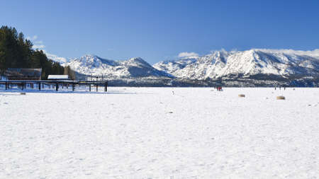 south lake tahoe: South Lake Tahoe, California, USA, 10 January 2016. Unidentified crowd playing in the frozen waters of South Lake Tahoe