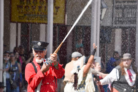 reenacting: Sacramento, California, USA. 3 September 2016. Fire rescue performance during Gold Rush Days in Old Sacramento
