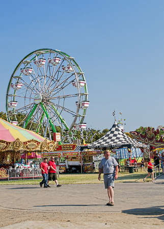 rural town: Woodland, California, USA. 20 August 2016. The Yolo County Fair, the largest and oldest free gate fair in California,  happens every August in this rural town.