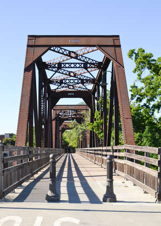 winters: Entrance of Winters Historic Trestle Train Bridge viewed from Putah Creek Road Stock Photo